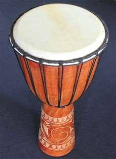 20 Inch Tall Hand Carved Wooden Djembe Drum