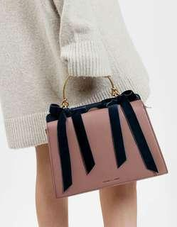 🌸Charles and Keith Velvet bow leather bag 蝴蝶結兩用手袋