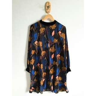 Zara Insp. Abstract Dress Dark color