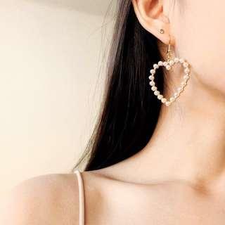 pearl heart earrings (anting)