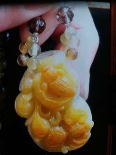 🚚 頂級翡翠糖料(滿糖黃翡)傳家收藏品項鍊