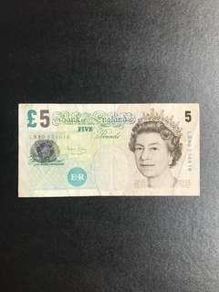 BANK OF ENGLAND 5 Pound Old Banknote
