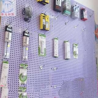 White hole board shelf storage