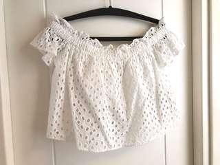 ZARA off shoulder Korean eyelet white top