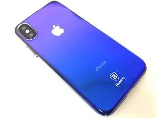 iPhone X Xs 彩光保護套 防摔 防撞 保護殼 ( 海藍色 ) 送 透明玻璃保護貼  Full Protection Rainbow Glass Mobile Cover case For iPhone X Xs ( Sea Blue ) ,  Free Premium 9H Hardness Tempered Glass Clear Screen Protector ( Baseus )