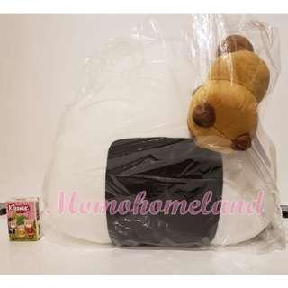 ♕42cm狸貓與狐狸-特大狸貓吃飯糰毛公仔/Tanuki & Kitsune/Raccoon and Fox-Super Huge Chewing Rice Ball-Rice Balls are Delicious♕