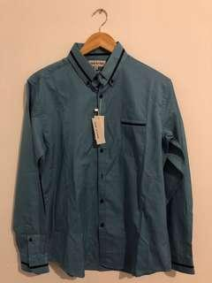 GREASE - Teal Button Up - Medium