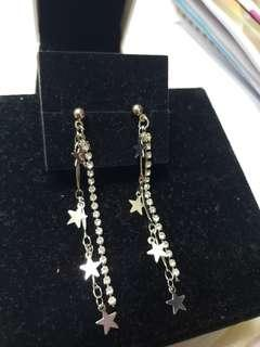 925 Silver diamond star long earrings 純銀閃石耳環 no box