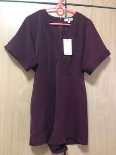 🚚 love bonito kimono romper in maroon