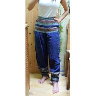 Blue Casual Loose Harem pants