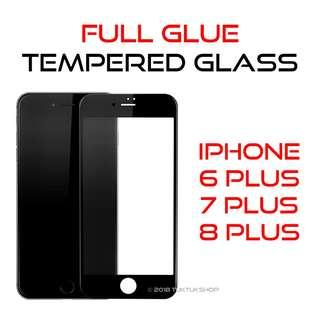 iPhone 6+ 7+ 8+ Tempered Glass Screen Protector Full Glue