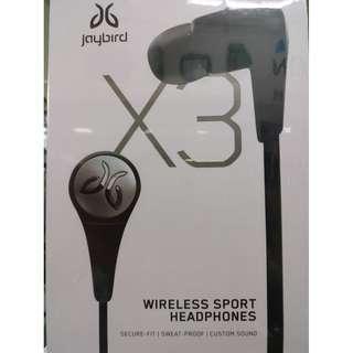 JAYBIRD X3 IN-EAR Wireless Bluetooth Sports Headphones Black (Brand New)