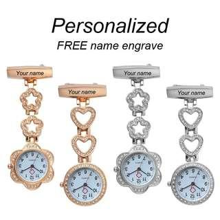 🆒🆕Personalized Customized FREE Engraved with Your Name Doctor Clock Pin Brooch Crystal Strass Rose Gold Heart Fob Nurse Watch