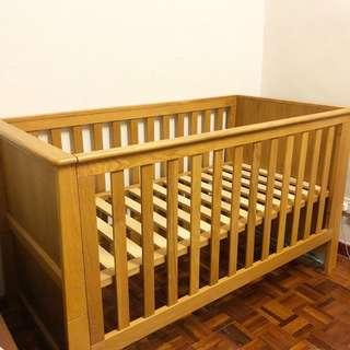 🆕 SOLID OAKWOOD CONVERTIBLE BABY COT with MATTRESS