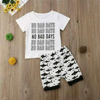 🚚 Toddler Kids Baby Boy Short Sleeve Letter T-shirt+Shark Shorts Summer Outfits Set Clothes New Arrivals Summer Clothing
