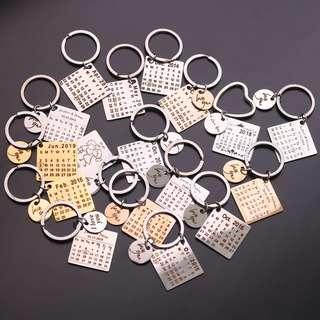🆕🆒 Personalized Calendar Keychain, Anniversary Keychain,Engraved Photo Calendar Keychain,Calendar
