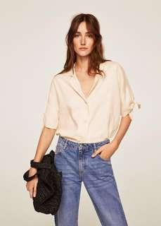 i'm looking for mango linen top with knot sleeves