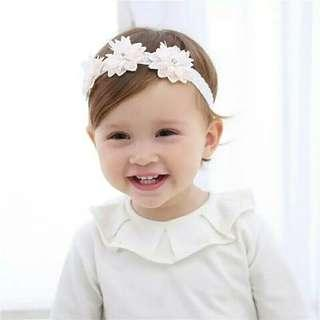 🚚 Baby Hairband bow flower Headband Silver ribbon Hair Band 3 flowers Headband Headwear elastic Hair Band Newborn Photography Prop