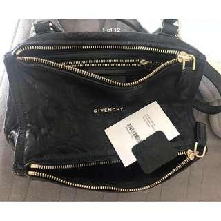 Authentic Givenchy Small Pepe Sheepskin Pandora Bag Black