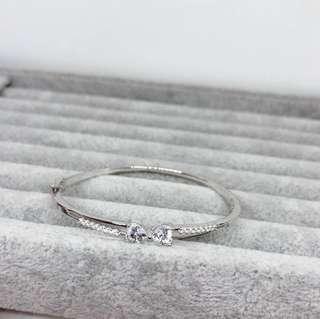 🚚 ✨🇭🇰香港🇭🇰正生純銀飾品-蝴蝶結貼鑽手環