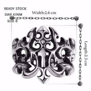 Cincin titanium silver  motif