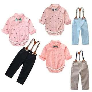 🚚 Baby Boy Clothes Newborn Infant Clothing Set Gentleman Suit Long Sleeve Romper+suspender Trousers Toddler Boys Clothes Outfits
