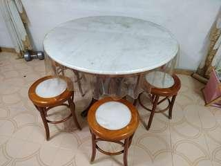 Marble round table with 6 marble stood
