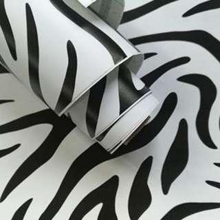 Zebra Stripes Adhesive Wallpaper Wall Home Decor