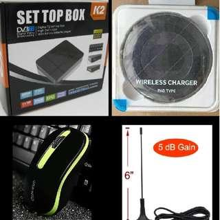 CHEAP! NEW K2 DVB-T2 Digital TV Box + NEW Mobile Phone Wireless Charger + NEW Wireless Mouse + NEW TV Antenna $35 ONLY