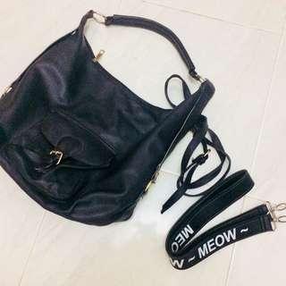 Shoulder bag hitam kulit (free strap bag)