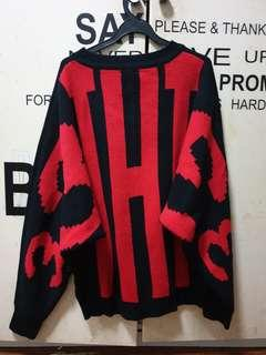 Sweater KNITTED SWEATS OVERSIZED (black and red)