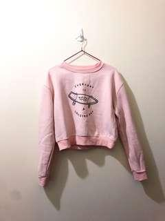 Pink pull-over sweater crew neck cropped