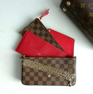 Authentic Louis Vuitton Felicie Pocket in Damier Ebene