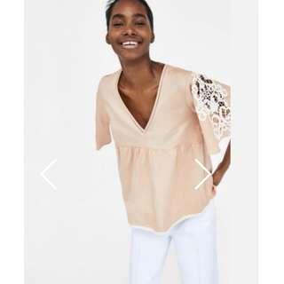 Zara top with Embroidered Sleeves