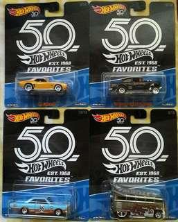 Hot wheels 50th anniversary favorites set of 4.