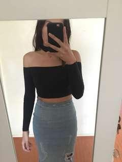 AMERICAN APPAREL BLACK CHOKER CROP TOP SIZE XS