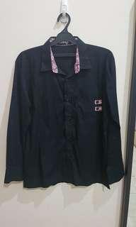 Kemeja hitam shirt aksen batik