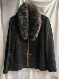 毛毛領格子西裝外套