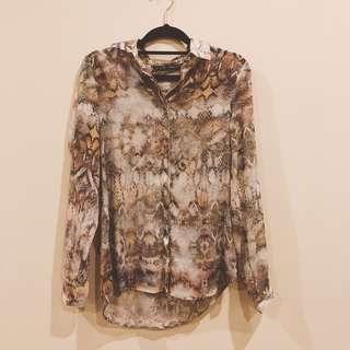 Zara snake skin prints sheer shirt