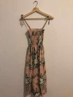 Light pink hawaiian midi dress