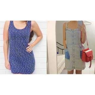 $10 SALE: 1+1 = BN Polka Popper Knit Tunic Long Top Dress & BNWT Charlotte Ronson Distressed Denim Dress (do you see this marked sold? no. then OBVIOUSLY ITS AVAILABLE)