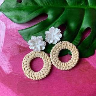 Rattan White Flower Earrings