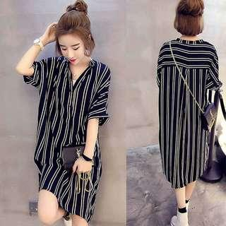 🚚 13衣衫小舗🎀M-4XL韓版寬鬆條紋襯衫A499