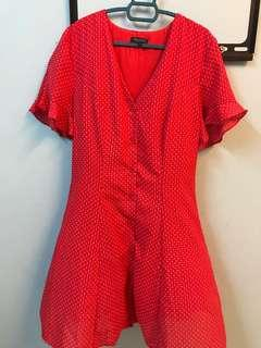 Zalora Red Tea dress with slimming effect
