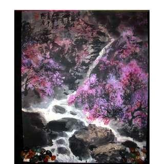 中國工藝美術大師 關寶琮 真跡 落花水流紅憶山溪小景