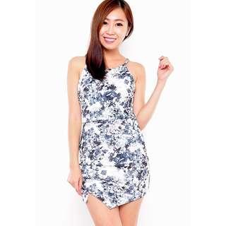 *PREMIUM* BNIB Halter Cut In Overlap Origami Bodycon Mini Dress in Grey Florals