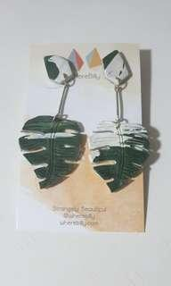 Wherebilly Tropical Leaves Clay Earrings