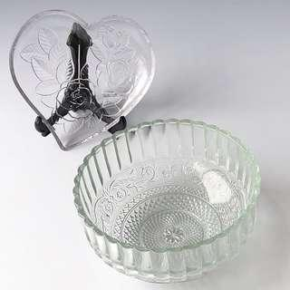 Transparent Clear Glass Plate Heart Shape Glass Bowl