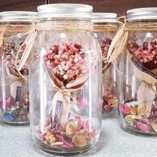 Pink Babysbreath Bouquet in Jars