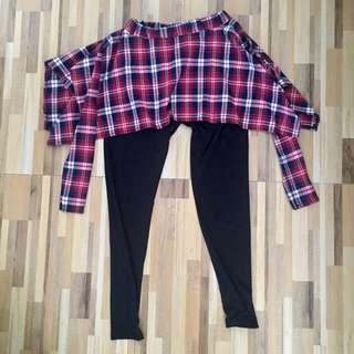 Black leggings with checkered skirt